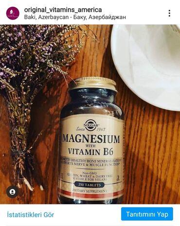 Vitamin Solgar Magnesium B6  Solgar Magnesium+B6  Sağlam Sümük Mineral