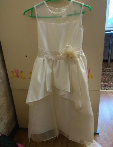 Ат касилка - Кыргызстан: Платье на девочку 7-10 лет, заказывали с США,атлас, цвет айвори