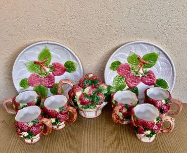 Чайный набор посуды, размер бокала 10*10 см, диаметр блюда 15 см