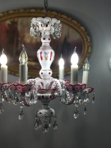Qədimi çil çıraq (lust) 6 şamdamla Bohemia crystal Cexoslovakiyanin