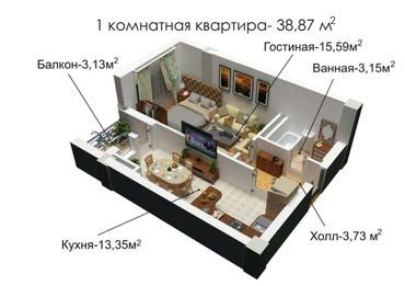 Продается 1-х комнатная  квартира в Бишкек