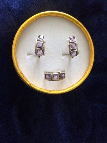Набор серебренный с камушками фианит. Индия. 2500 с в Токмак