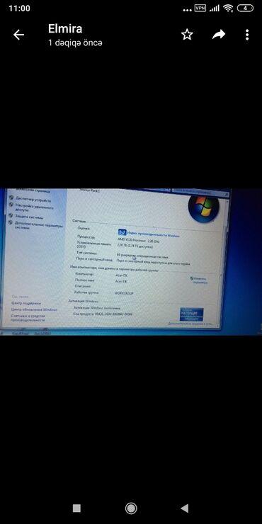 Noutbuk satılırProcessor AMDRam 2 gbVideokart 1 gbYaddaş 500 gbQiyməti