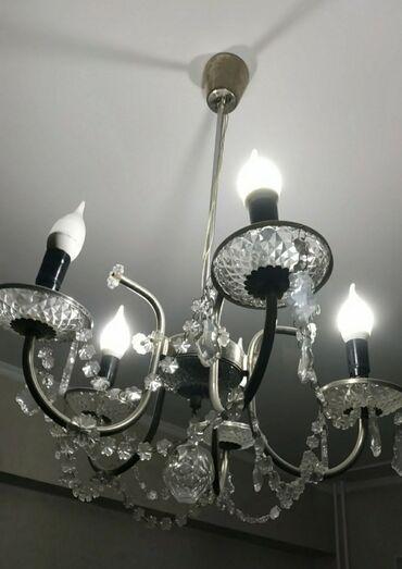 ЛЮСТРА подвесная хрустальная с плафонами в виде свечей и с