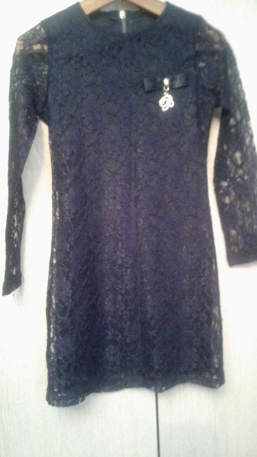 гипюр платье в Кыргызстан: Платье нарядное гипюровое синее 7 11л в отличном состоянии