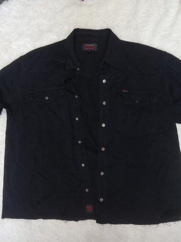 Мужская винтажная джинсовая рубашка снизу обрезана размер xl