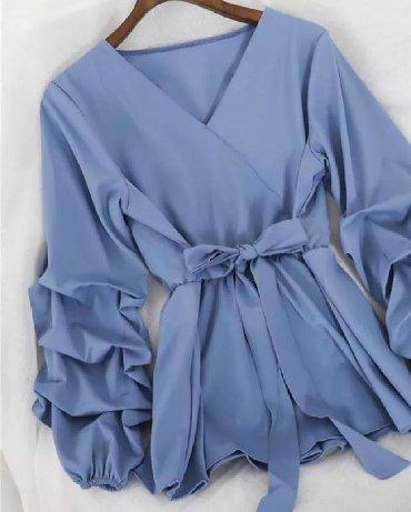 рубашка синего цвета в Кыргызстан: Блузка турция.куплена в бутике.р от 42ло 48.на запах длина чуть ниже