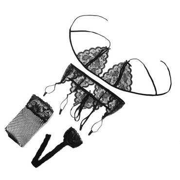 Эротическое - Кыргызстан: Комплект белья : чулки, подвязки и лиф с трусиками с разрезом.Хотите