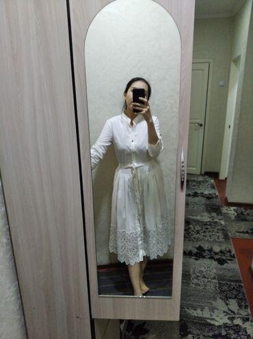 платье миди в Кыргызстан: Белоснежное платье длины- миди. Размер 40( турецкий размер). Покупали