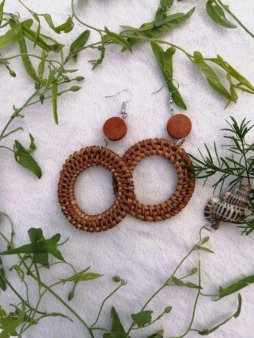 Аксессуары - Беловодское: Сережки легкие бамбуковые, стильно дополнит ваш гардеров!!!