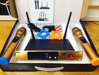 Mikrofonlar Azərbaycanda: Karaoke mikrafonlar son endirim say mehduddur Gold reng kabelsiz