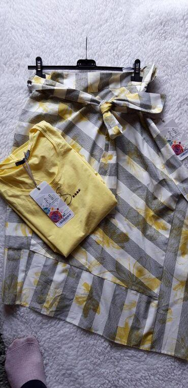 P.S asimetricna suknja + majica L