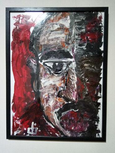 '2Pac', 40x30cm. Akril na papiru. Moj rad(Filip Jovanovic). Pogledajte