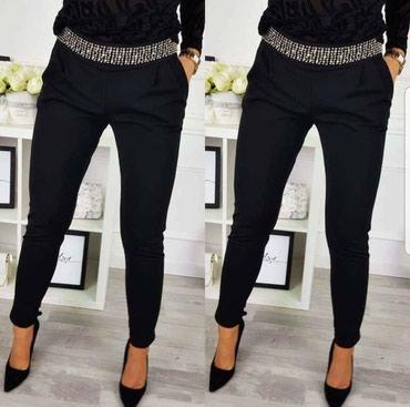 Elegantne crne pantalone sa kristalima NOVO! - Pirot