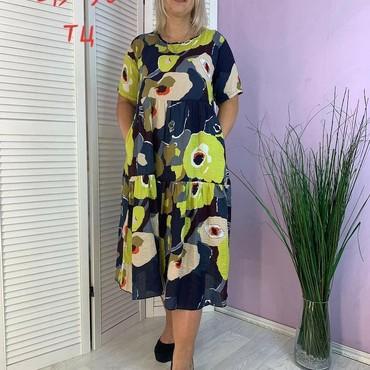 летнее платье 54 размера в Кыргызстан: Летнее женское платье  ткань:штапель  размеры: 52,54,56,58 цена : 700
