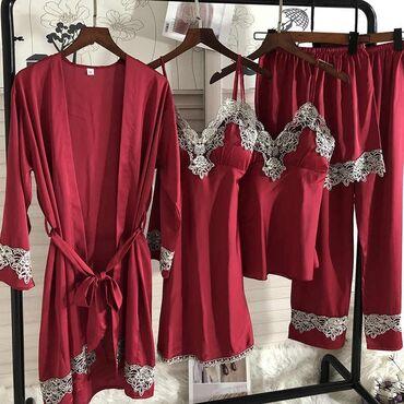 домашний лимон в Кыргызстан: Пижама, пижамы ночнушки пеньюар ы Шелковые набор пижамы и