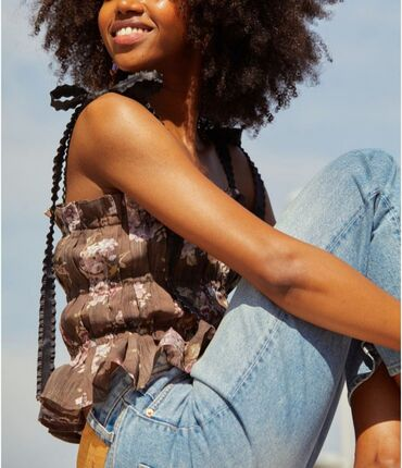 Личные вещи - Балыкчы: Топ из лиоцелла от H&M. Лос-Анжелесский винтаж Воланы, оборки, лен