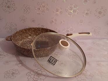 Сковорода с каменным (мраморным) покрытием, 28см, 5- слойные стенки и
