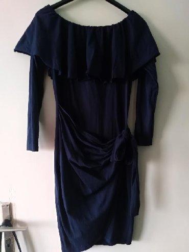 Haljina pamuk, uni vel, samo oprana, teget boje