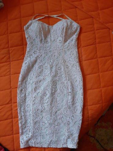 Bela haljina sa cipkom - Srbija: Haljinica sa bebi roze cipkom i bez postavom ispod,odgovara s i xs