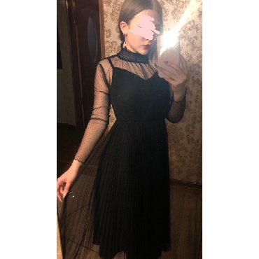 длинное платье карандаш в Кыргызстан: Шикарное длинное чёрное платье
