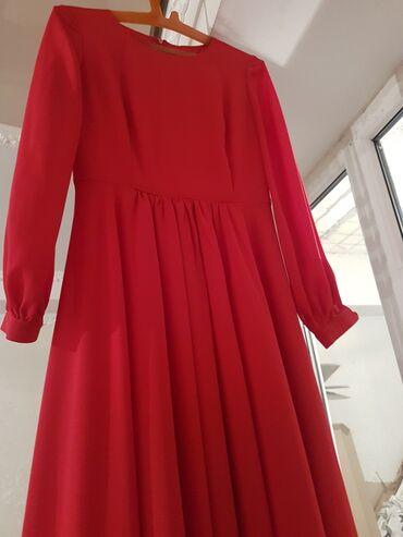 купить длинное платье в горошек в Кыргызстан: Длинное красное платье отдам за 2000с. Одевала один раз на той. Размер