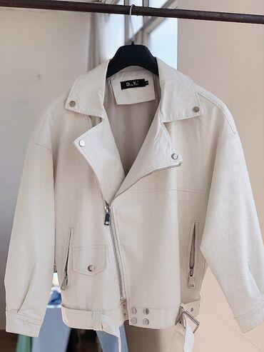 Новая белая кожаная куртка, оверсайз, реальному клиенту уступка будет