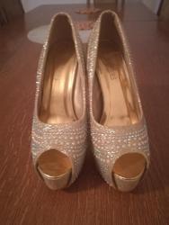 Zlatne baletamke - Srbija: Zlatne cipele sa cirkonima očuvane br 40