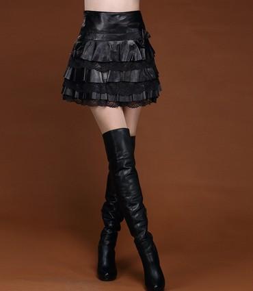 Юбка популярная женская мини из кожи всегда смотрится модно и