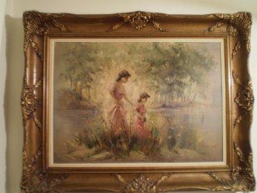 """ΠΙΝΑΚΑΣ του Κ. ΡΙΓΟΥΛΗ, 90 Χ 67, """"Κοπέλες στη λίμνη"""", ελαιογραφία, σε"""