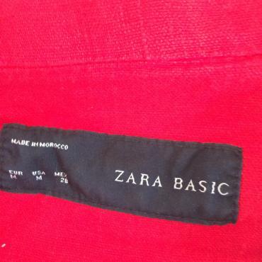 Zara prolecna lanena jakna nepostavljena u crvenoj boji sa 3/4 rukavim - Beograd