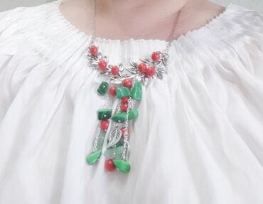 """Аксессуары - Кыргызстан: 1. Подвеска """" Яркое настроение"""" из сколов тонированного зеленого перла"""