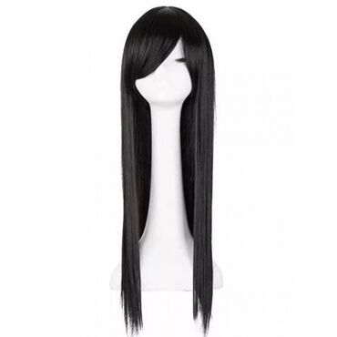 Черный длинный парик 2