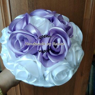 Свадебный букет. букет для невесты. букет из лент. розы. в Бишкек