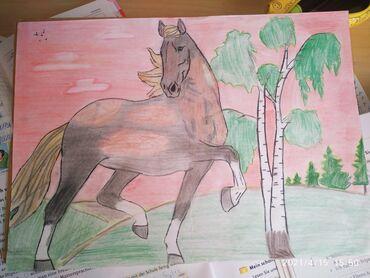 Картина лошадь на закате рисовала сама карандашом