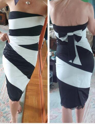 Bela haljina sa cipkom - Srbija: Karen Millen uska elegantna crno bela haljina sa masnom pozadi