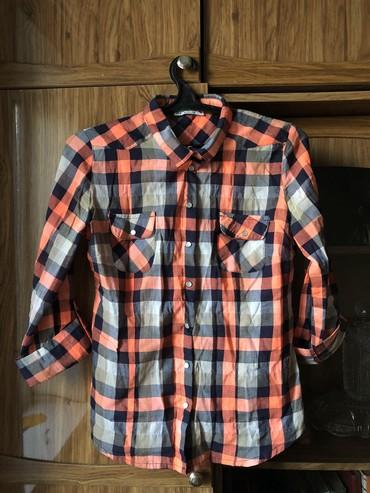 блузки с коротким рукавом в Кыргызстан: Клетчатая рубашка, рукав 3/4, размер S