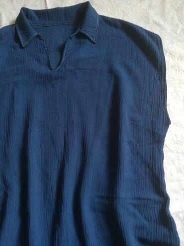 Haljina ravnog kroja sa kragnom plave boje vel XL, obim grudi 110 cm