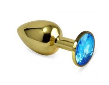 Анальная ювелирка gold plug с камнем аквамарин размера SМеталлическая