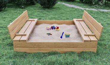 Новая Песочница деревянная с крышкой