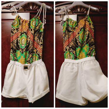Новый из Дубая комбинезон (топик шорты) с карманами,из натуральной