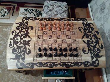 Шахматы - Бишкек: Продаю дизайнерский шахматный стол с пешками. Ручной работы