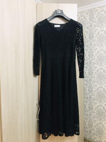 вечернее платье до колен в Кыргызстан: Чёрное вечернее платье ниже колен