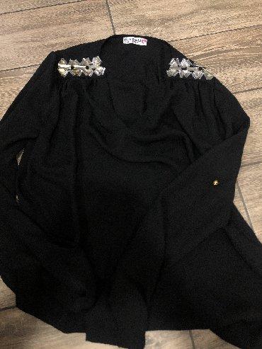 Crna bluza sdugim rukaviz italij - Srbija: Crna bluza sa cirkonima S velicina