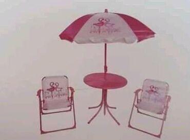 Baštenski set za decu    Dve stolice  Sto 🏖 Suncobran 🏜 dezeni žabac