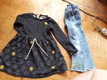 Платье и джинсовые штаны для девочки 4-5 лет, фабричные