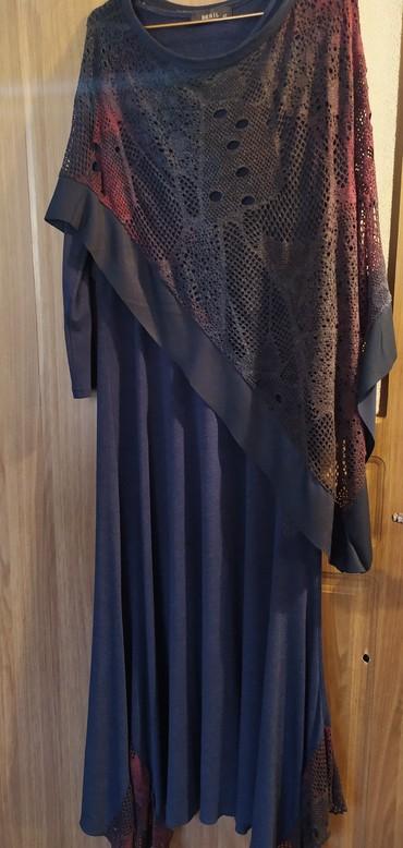 стильные платья для полных девушек в Кыргызстан: Продаю вечернее стильное платье. размер до 50 подойдёт. накидка