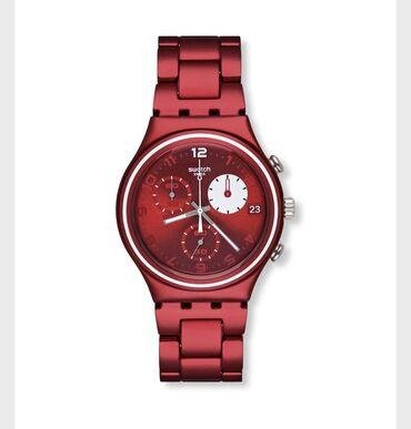 Qırmızı Uniseks Qol saatları Swatch