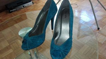 Tirkizne cipele, velicina 38, gazište 24,5cm, prevrnuta koža, kao - Novi Sad