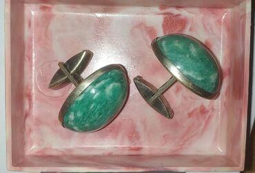 Крупные запонки серебро 875 пробы СССР советские, камень амазонит, в